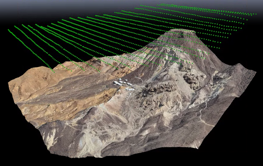 The flight path as drones survey erosion.